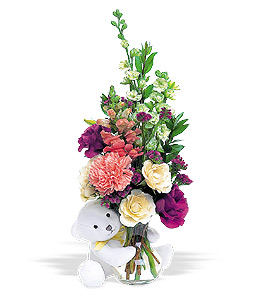 Roses, Carnations and Teddy Bear